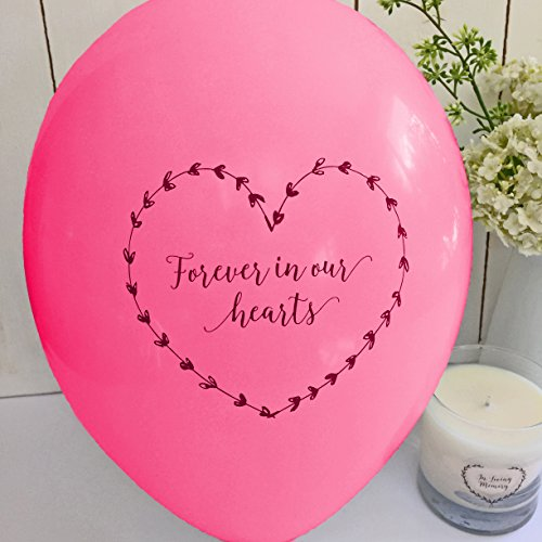 ANGEL & DOVE 25 Bright Pink 'Forever In Our Hearts' Biodegradable Funeral Remembrance Balloons - for Memory Table, Memorial, Condolence