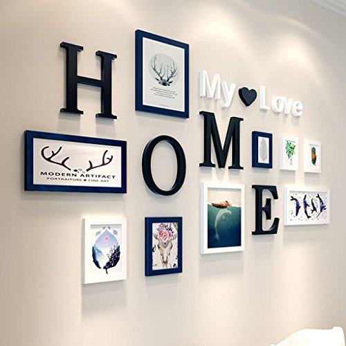 Home@Wall photo frame 9 PCS/Set Home Decoration DIY Photo Frame Sets For Wall Family Picture Frame Sets With Picture Card ( Color : C ) by ZGP