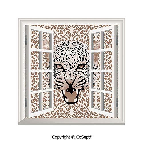 (SCOXIXI Creative Window View Wall Decor,Roaring Leopard Portrait with Rosettes Wild African Animal Big Cat Graphic,Window Stickers Have Beautiful Scenery(26.65x20 inch))
