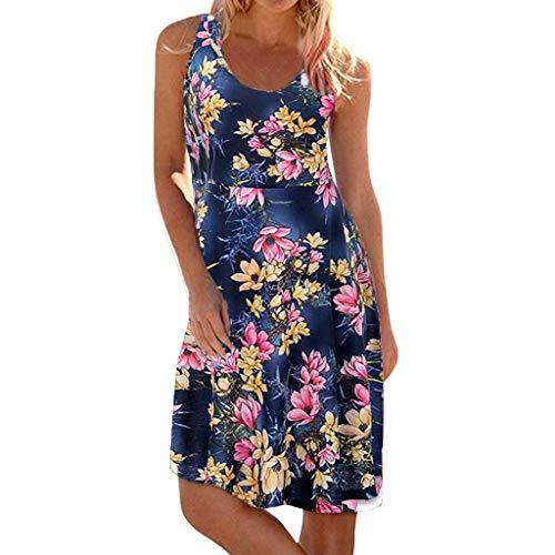Todaies Women's Print Mini Dress,Casual Sleeveless O-Neck Maxi Tank Beach Dress (3XL, Navy) ()