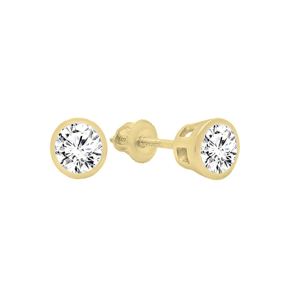 Yellow Gold K5517-CZ-14KY-1.50 Dazzlingrock Collection 14K Round Cubic Zirconia Ladies Solitaire Stud Earrings