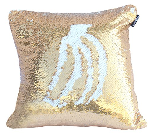 Livedeal Reversible Sequins Mermaid Pillow Cases 40*40cm Gold and White (Gold Pillow)