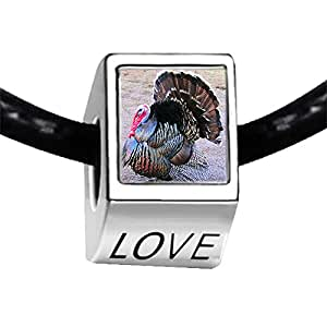 Chicforest Silver Plated big Thanksgiving turkey Photo LOVE Charm Beads Fits Pandora Bracelet
