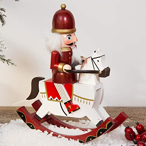 Winter Wonderland Traditional Wooden Nutcracker Soldier Rocking Horse - RED & White - 30cm (Wooden Traditional Rocking Horses)