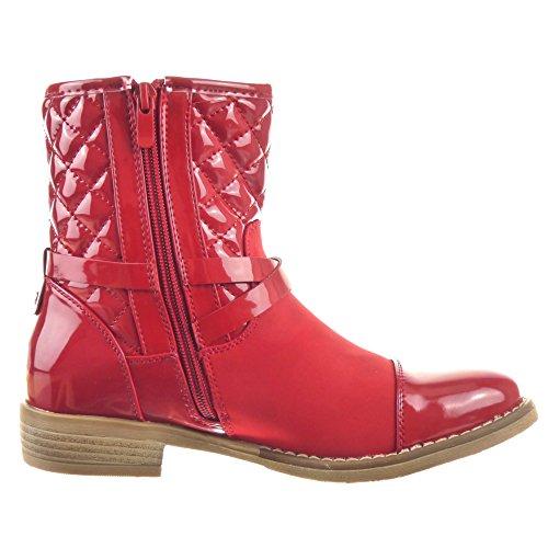 Sopily - Zapatillas de Moda Botines Cavalier Botas de guma de lluvia A medio muslo mujer brillantes zapato acolchado Talón Tacón ancho 2.5 CM - Rojo