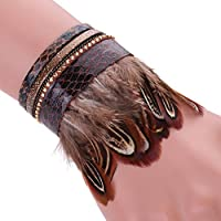 AutumnFall® Women Leather Feather Detail Wrist Cuff Wrap Band Trendy Bracelet (Coffee)