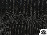 Vinyl Crocodile Allie BLACK Faux / Fake Leather Fabric By the Yard