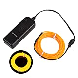 Onite US-20EL-02YL 16.4' Neon Glowing Strobing Electroluminescent EL Wire Light with Battery Pack Controller for Parties, Yellow