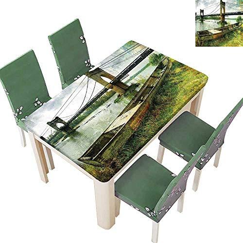Printsonne Table in Washable Polyeste Boat Riverside Distr