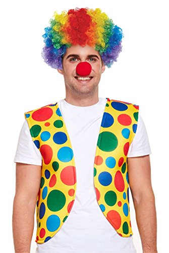 Rimi Hanger Adult Clown Wig Nose Vest Set Unisex Fancy Party Sports Circus Dress Costume -