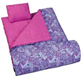 Wildkin Kids' Watercolor Ponies Cotton Blend Opens Flat to Top a Bed Sleeping Bag Includes a Matching travel pillow, Storage bag and Elastic storage straps - Purple