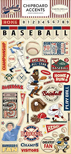 Baseball Accent - Carta Bella Paper Company CBBA95021 Baseball 6x13 Accents chipboard, Brown, red, Blue, Navy, Green, Yellow