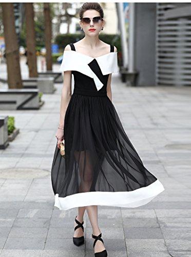 Gasa Palabra Alta Hombro Fino Gama Perspectiva De Vestido Perspectiva Vestidos black Elegante ZHUDJ De Poner SR7ctExxW