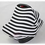SilverRoo Baby Car Seat Canopy - Best Wind-proof Stretchy Baby Carrier Cover - Breathable Fabric - Perfect Protective Custom Fit for Seats - Unique Innovative Non-slip Set - Shower Gift - Black