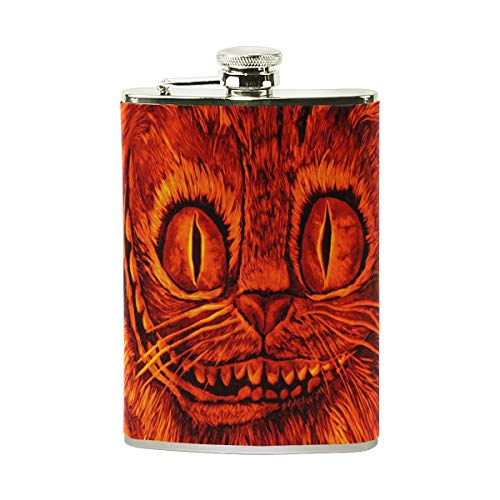 Stainless Steel Flask 18/8 with Leather Wrapped Cover Halloween Abstract Cat Wallpaper Winter Pocket Hip Flask 8 Oz Gift for Men-Flask Funnel