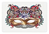 Ambesonne Mardi Gras Pet Mat for Food and Water, Venetian Carnival Mask Silhouette