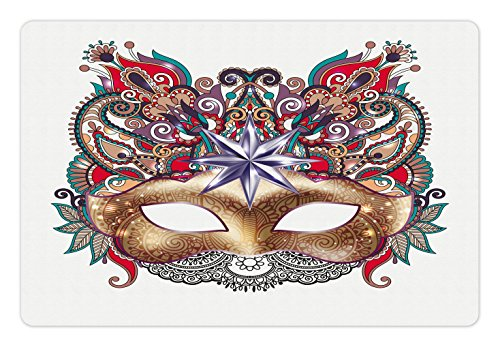 Ambesonne Mardi Gras Pet Mat for Food and Water, Venetian Carnival Mask Silhouette with Ornamental Elements Masquerade Costume, Rectangle Non-Slip Rubber Mat for Dogs and Cats, -