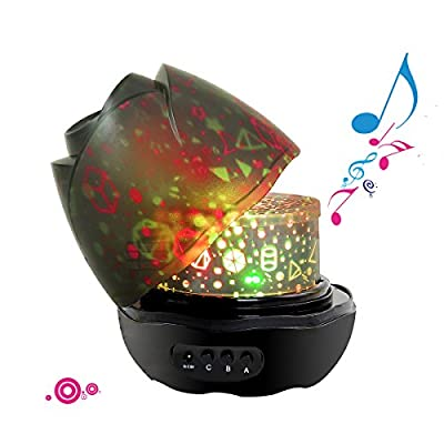 Music Baby Night Light, SlowTon Newest Musical Rotating Projector with Animal Forest Food Patterns Starry Bedroom Romantic for Baby Kids (Black with Music)