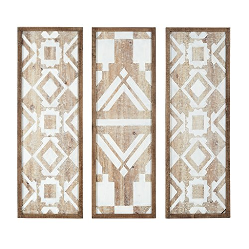 Madison Park Mandal Printed Wood Wall Decor Set of 3 Natural See Below