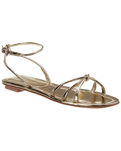 3ba8351dc57 Amazon.com | Prada Knot-Front Metallic Leather Sandal, 40, Metallic ...