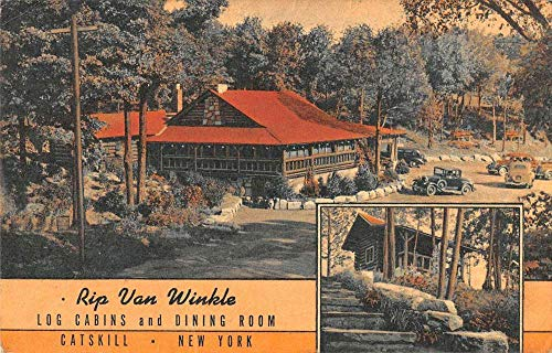 Catskill New York multi-views Rip Van Winkle log cabins antique pc ZA440534