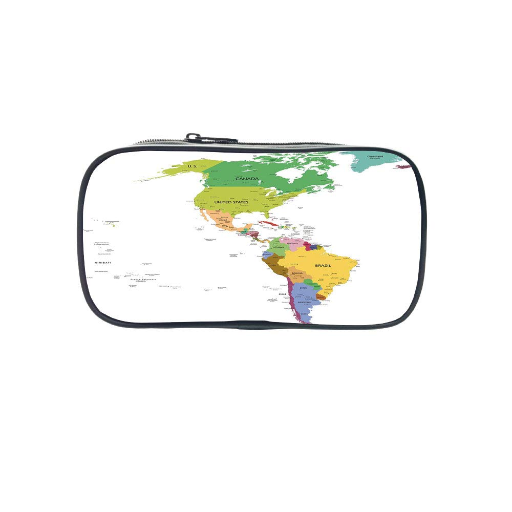 Strong Durability Pen Bag,Map,Map of South and North America with Countries Capitals and Major Cities Colorful Design Decorative,Multicolor,for Students,Diversified Design