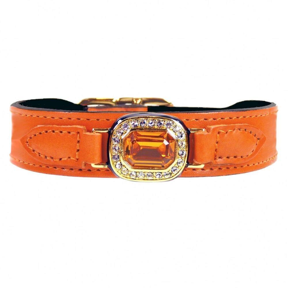 Hartman & pink 3426 Haute Couture Dog Collar, 10 to 12-Inch, Octagon orange