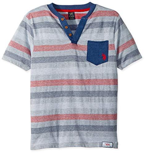 (U.S. Polo Assn. Boys' Big Short Sleeve Striped Crew Neck T-Shirt, Jacquard Henley Pocket el Light Heather Gray, 18)