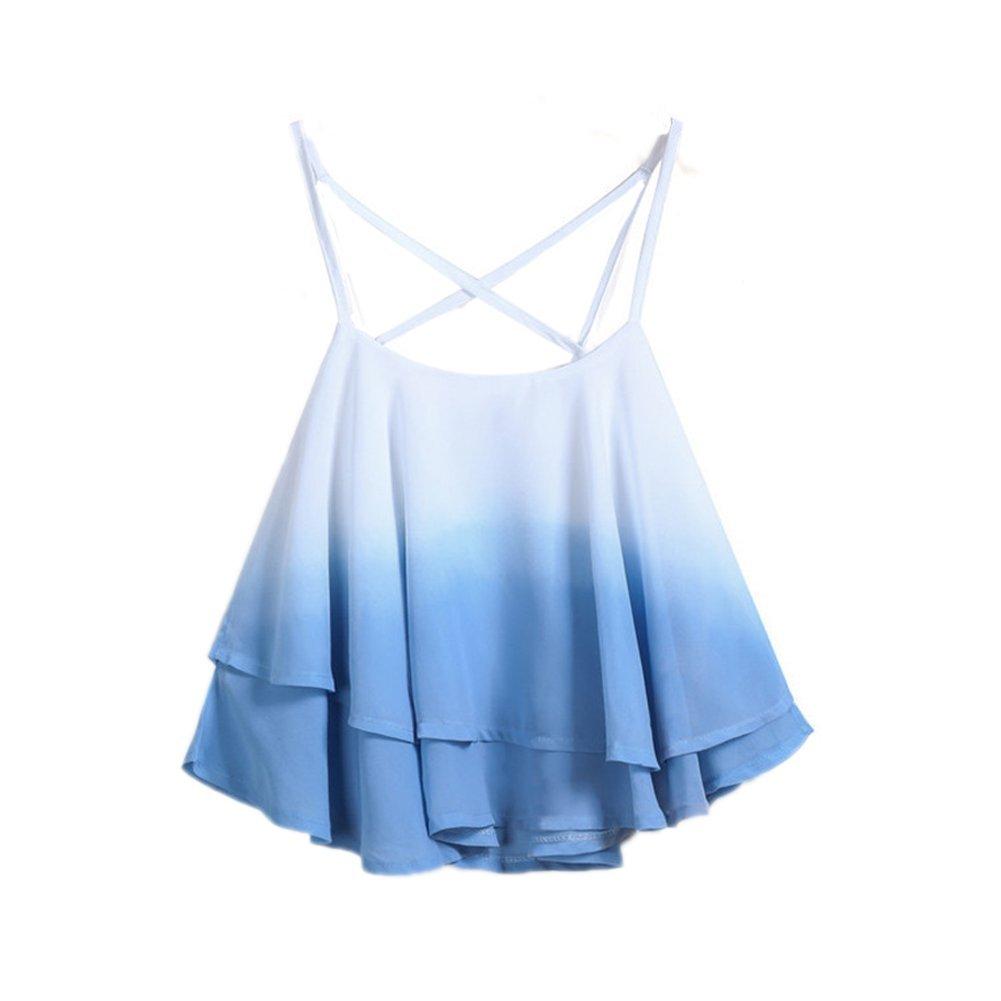 Petite Girls Women Sleeveless Cami Vest Spaghetti Strap Double Layer Tank Top (Blue) QIYU2017675