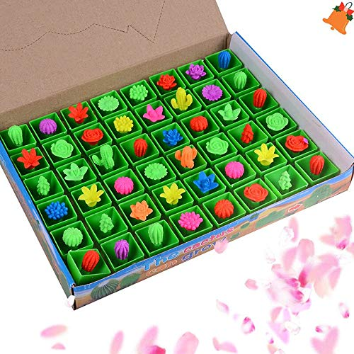 Gags & Practical Jokes - 48pcs Box Magic Plant Flowers Growing In Water Cactus Toys Soaking Expansion Can Grow Expand - Rubber Live Pulsar Water Cactus Journey Water Bottle Cartoon Pet Cact