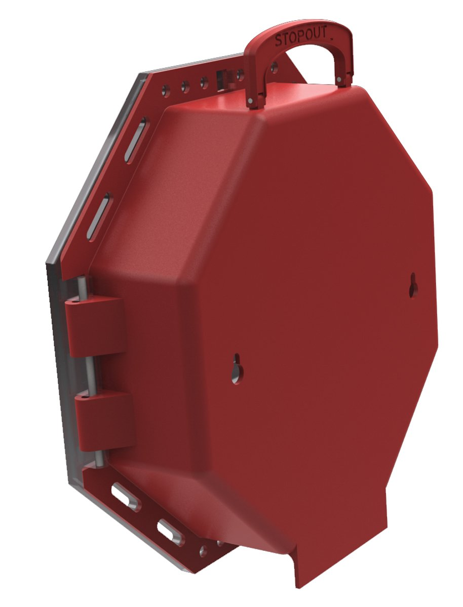 Accuform KCC624 STOPOUT Look 'n Stop Group Lock Box, 13'' Length x 13'' Width x 3-1/2'' Depth, Plastic, Red with Clear Front