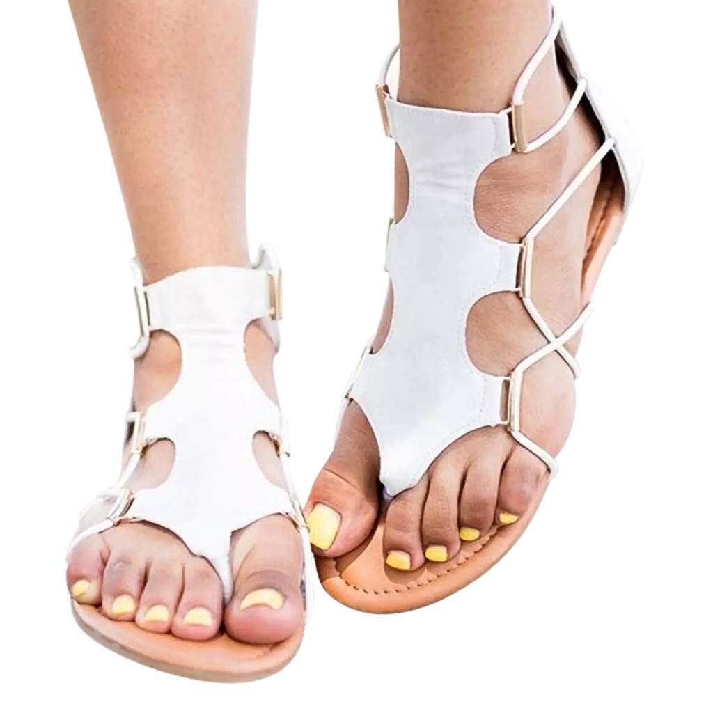 OrchidAmor 2019 Summer Women Summers Retro Round Toe Flat Platform Shoes Cross Strap Sandals