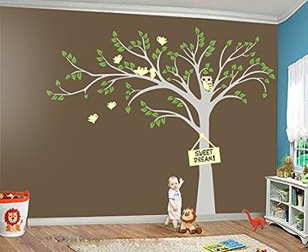 Tree and owls  Wall decal nursery  Tree decal  Tree and name  Name decals  Wall decal Tree  Forest tree decal  Tree and birds decal