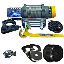 Superwinch 1145220 Terra 45 ATV & Utility Winch (4500lbs/2046kg Rating) + Superwinch 2202900 ATV Mounting Kit, Polaris + KFI Products ATV-SB Snatch Block + KFI Products ATV-CHS Winch Cable Hook Stopper Bundle