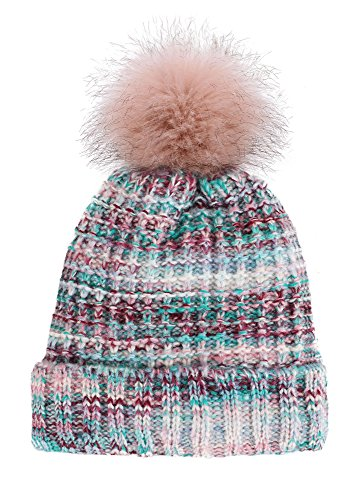 Livingston Women's Winter Soft Knitted Beanie Hat With Faux Fur Pom Pom, Mix Red - Red Blue Mix
