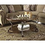 Glass Coffee Table in Living Room Ashley Furniture Signature Design - Nestor Glass Top Coffee Table - Cocktail Height - Oval - Medium Brown