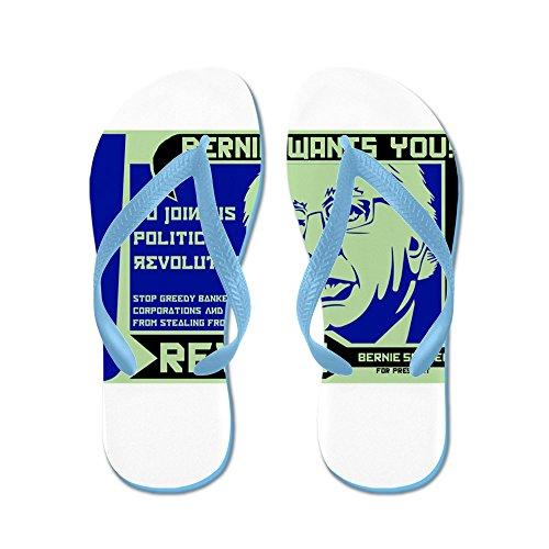 Cafepress Bernie Slipmaskiner Revolution - Flip Flops, Roliga Rem Sandaler, Strand Sandaler Caribbean Blue