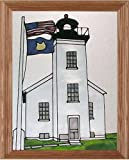 "Sand Point Lighthouse Michigan 13.5"" Wide x 16.5"" High Hand Painted Art Glass Panel"