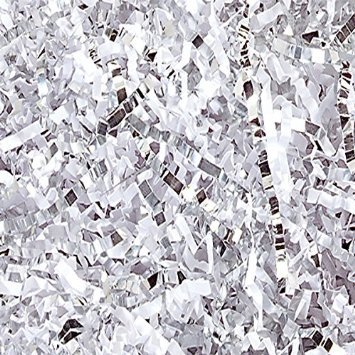 White and Silver Metallic Blend Crinkle Paper 1/2 Lb Bag 8 O