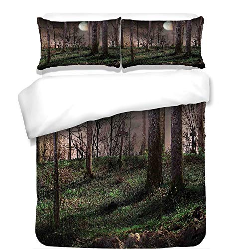 iPrint 3Pcs Duvet Cover Set,Gothic,Dark Night in The Forest with Full Moon Horror Theme Grunge Style Halloween,Brown Green Yellow,Best Bedding Gifts for Family/Friends for $<!--$98.89-->