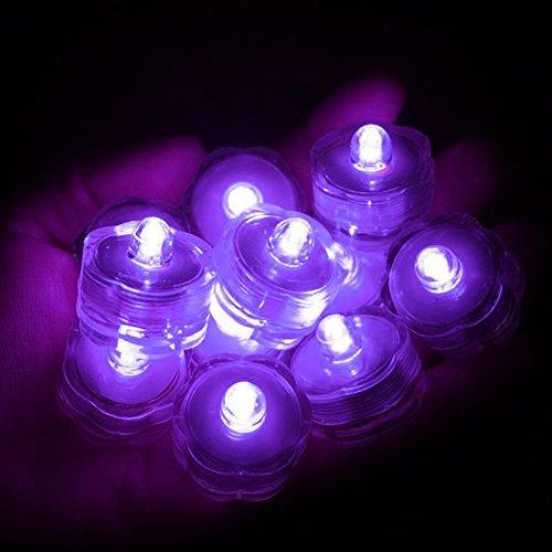 Sokaton Submersible Tea Light Battery Operated Waterproof LED Tealights Underwater Vase Light for Christmas Xmas Holloween Party Wedding Decoration (Purple-24) -