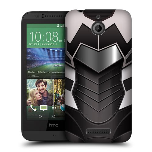 Head Case Designs White and Black Armour Collection Protective Snap-on Hard Back Case Cover for HTC Desire 510