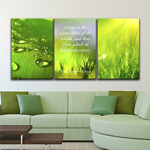 3 Panel Green Leave and Plants with Inspirational Quotes x 3 Panels