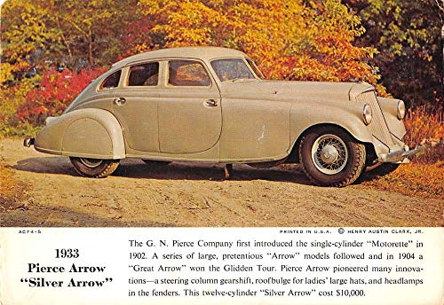 - 1933 Pierce Arrow Silver Car Automobile Ad Vintage Postcard KA688417