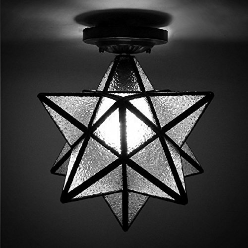 "BAYCHEER HL399367 12""Diamond STAR Shape Flush Mount Ceiling Light Lamp use E26 CFL light bulb"