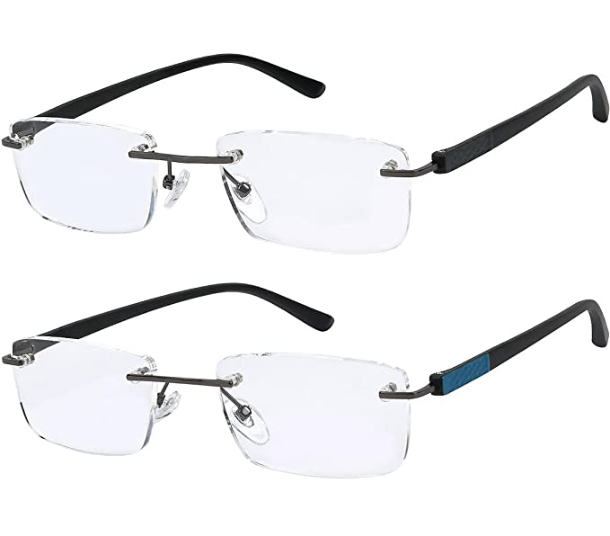 b9374b7e17 Reading Glasses Set of 2 Rimless Lightweight Readers Ultra Comfort Quality  Glasses for Reading Men and