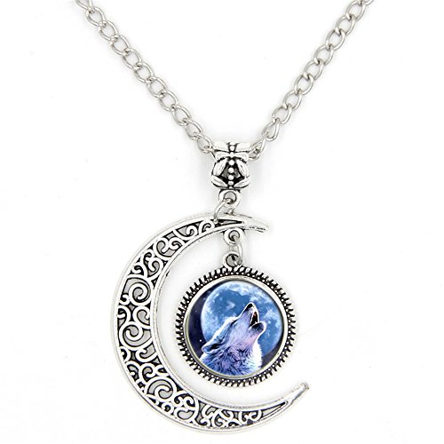 Buy howling wolf gemstone pendant