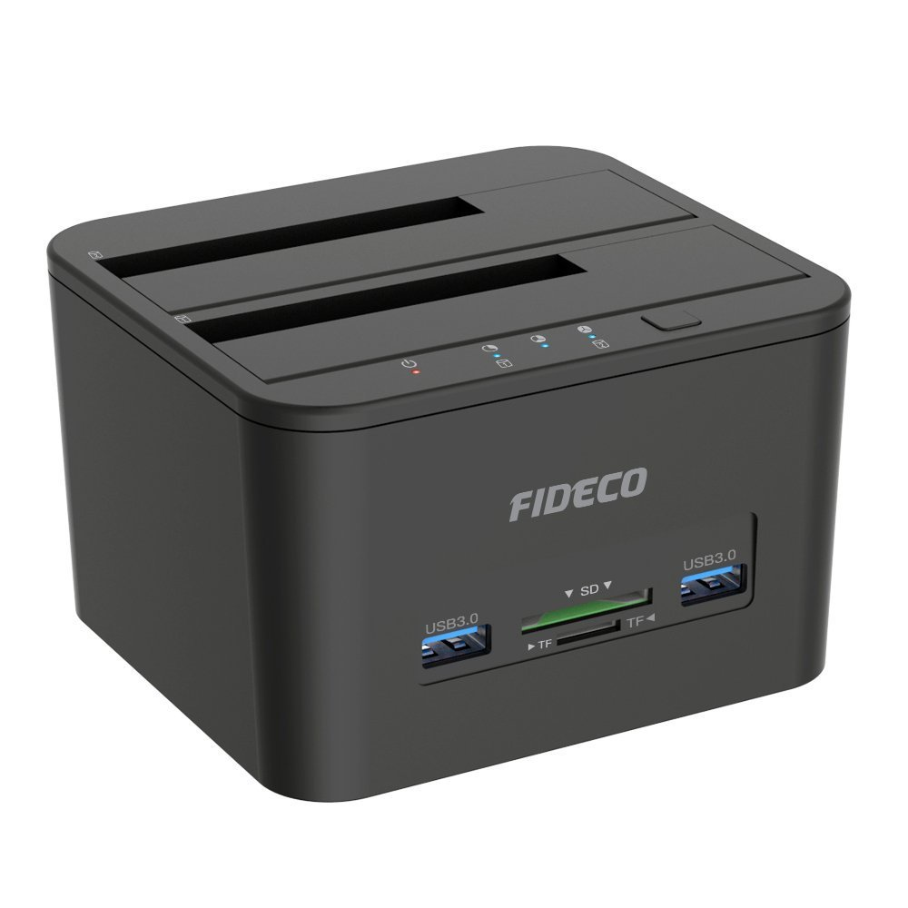 Hard Drive Docking Station, FIDECO USB 3.0 HDD Docking Station Dual-Bay External Hard Drive Dock with Offline Clone Function for 2.5''/3.5'' SATA HDD SSD, Support TF & SD Card (2x 10TB)