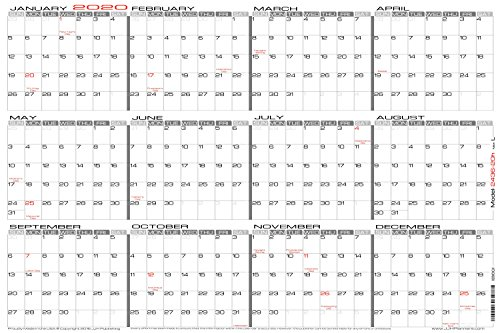 "24"" x 36"" Large Wet Erase - Yearly 2020 Wall Calendar - Laminated Horizontal Planner (2436-20h)"