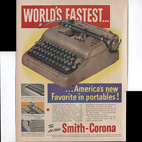 The All-New Smith-Corona World's Fastest America's New Favorite In Portable Typewriters 1950 Vintage Antique Advertisement